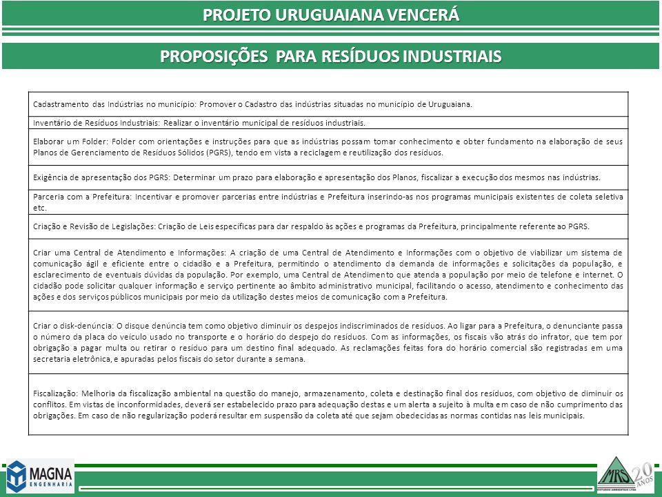 PROJETO URUGUAIANA VENCERÁ PROPOSIÇÕES PARA RESÍDUOS INDUSTRIAIS Cadastramento das Indústrias no município: Promover o Cadastro das indústrias situada