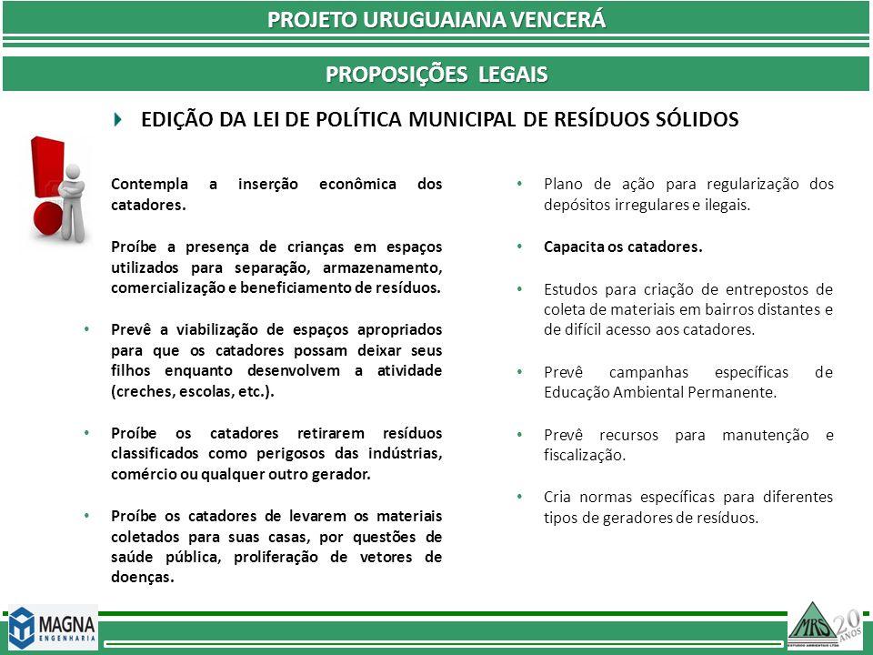 PROJETO URUGUAIANA VENCERÁ PROPOSIÇÕES LEGAIS Contempla a inserção econômica dos catadores. Proíbe a presença de crianças em espaços utilizados para s