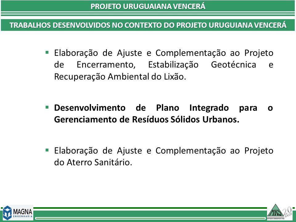 PROJETO URUGUAIANA VENCERÁ PLANO DE CAPACITAÇÃO OBJETIVOS Ações de treinamento e reciclagem de todos os envolvidos no trabalho de implantação do PGIRSU.