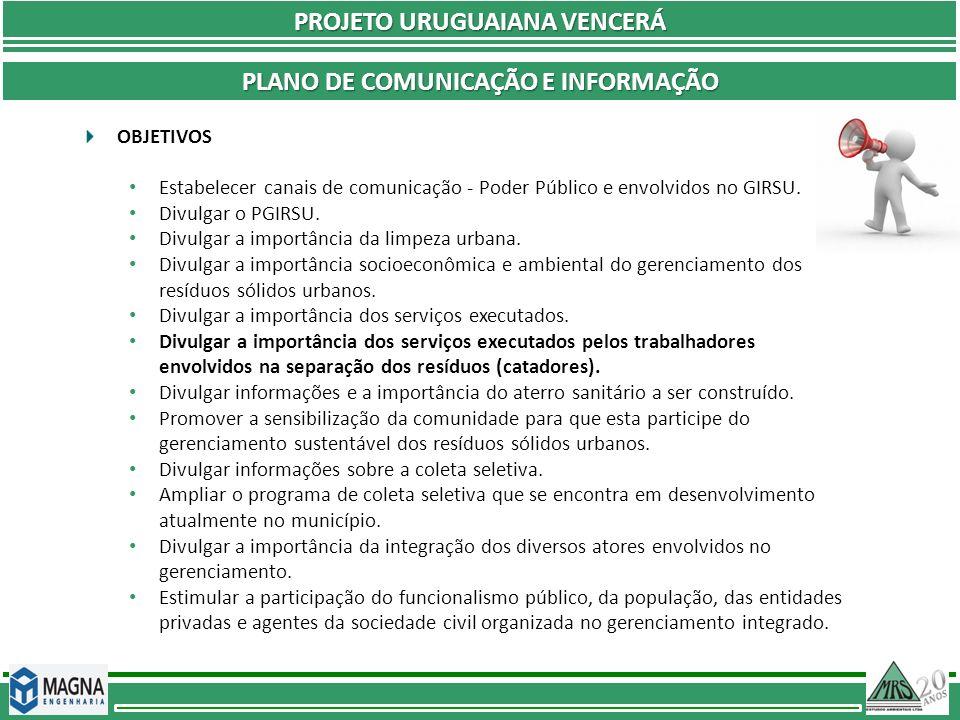PROJETO URUGUAIANA VENCERÁ PLANO DE COMUNICAÇÃO E INFORMAÇÃO OBJETIVOS Estabelecer canais de comunicação - Poder Público e envolvidos no GIRSU. Divulg