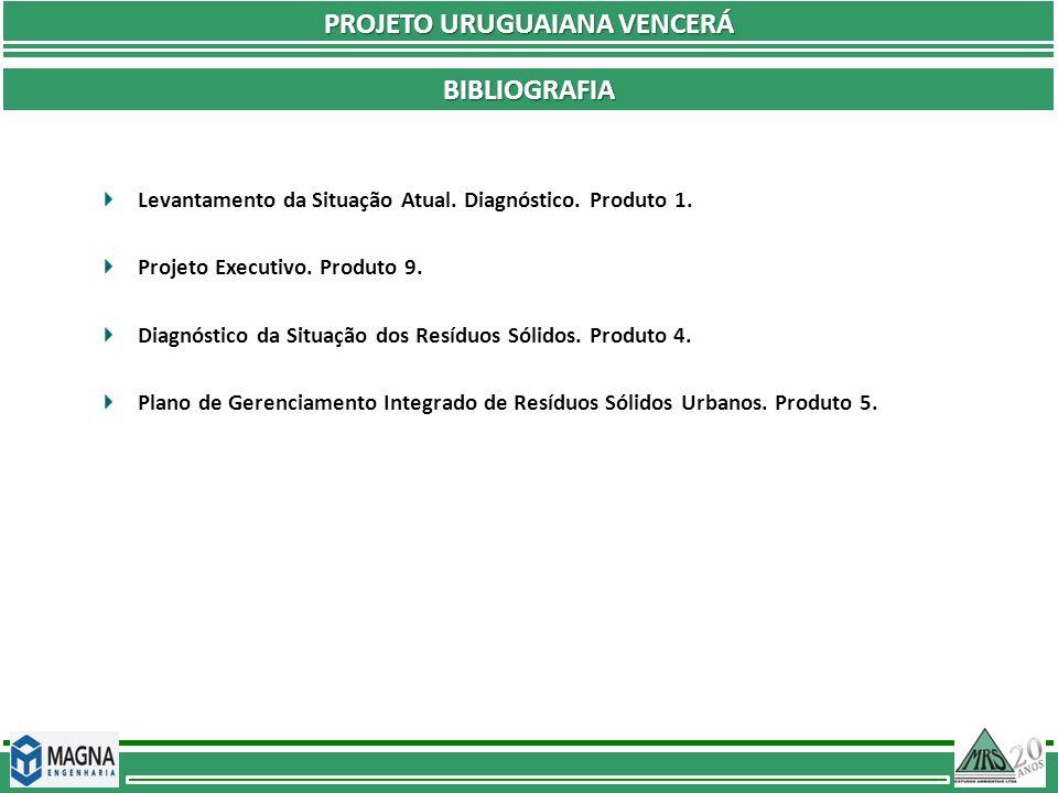 PROJETO URUGUAIANA VENCERÁ BIBLIOGRAFIA Levantamento da Situação Atual. Diagnóstico. Produto 1. Projeto Executivo. Produto 9. Diagnóstico da Situação