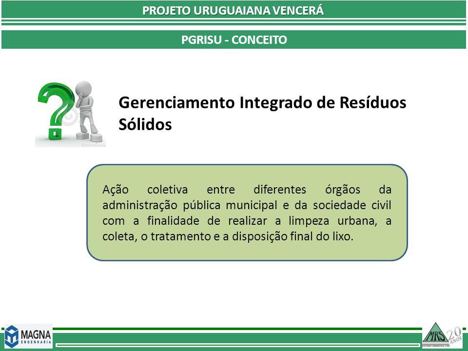 PROJETO URUGUAIANA VENCERÁ PGRISU - CONCEITO O Gerenciamento Integrado dos Resíduos Sólidos melhora a qualidade de vida da população e promove a limpeza da cidade.