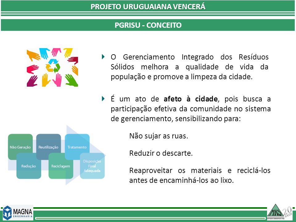 Plano de Gerenciamento Integrado de Resíduos Sólidos Urbanos PGRISU - CONCEITO PROJETO URUGUAIANA VENCERÁ é um documento que apresenta a situação atual do sistema de limpeza urbana, estabelece ações integradas e diretrizes sob os aspectos ambientais, econômicos, financeiros, administrativos, técnicos, sociais e legais para todas as fases de gestão dos resíduos sólidos, desde a sua geração até a destinação final (Ministério do Meio Ambiente, 2001).