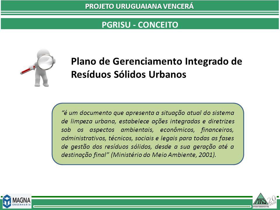 Plano de Gerenciamento Integrado de Resíduos Sólidos Urbanos PGRISU - CONCEITO PROJETO URUGUAIANA VENCERÁ é um documento que apresenta a situação atua