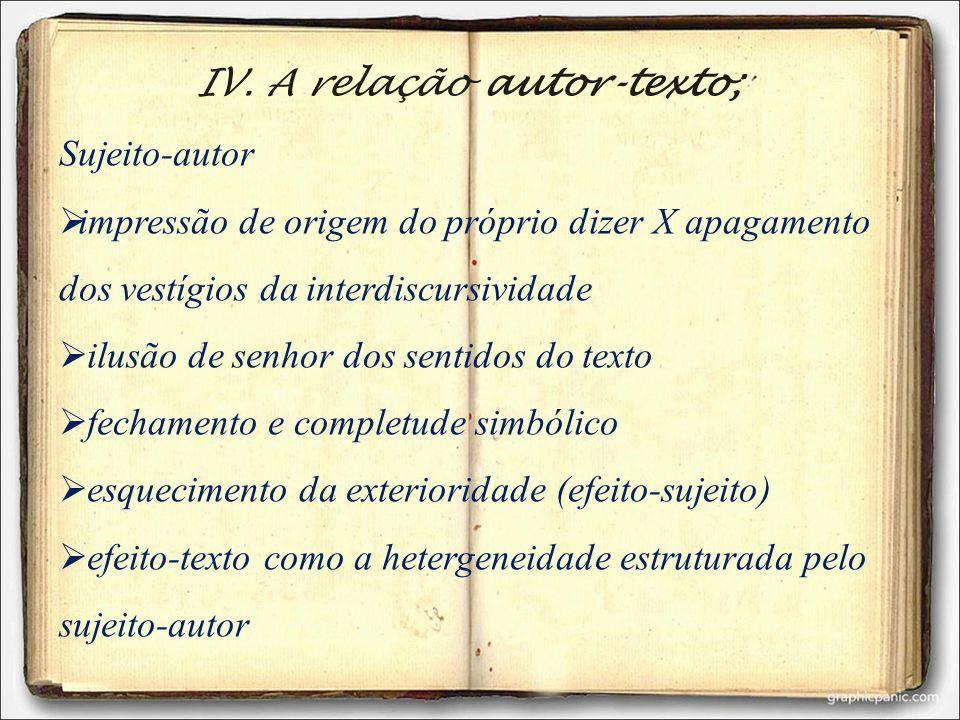IV. A relação autor-texto; Sujeito-autor impressão de origem do próprio dizer X apagamento dos vestígios da interdiscursividade ilusão de senhor dos s
