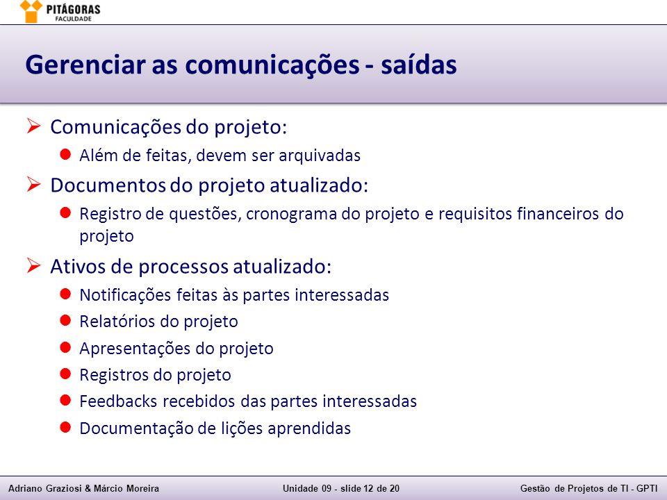 Adriano Graziosi & Márcio MoreiraUnidade 09 - slide 12 de 20Gestão de Projetos de TI - GPTI Gerenciar as comunicações - saídas Comunicações do projeto