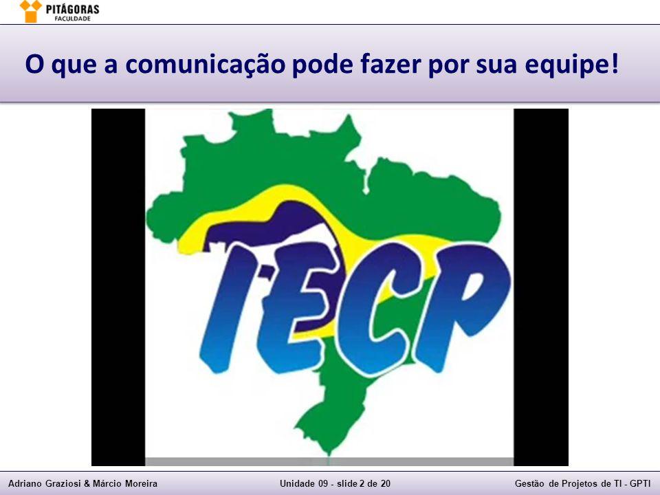 Adriano Graziosi & Márcio MoreiraUnidade 09 - slide 2 de 20Gestão de Projetos de TI - GPTI O que a comunicação pode fazer por sua equipe!