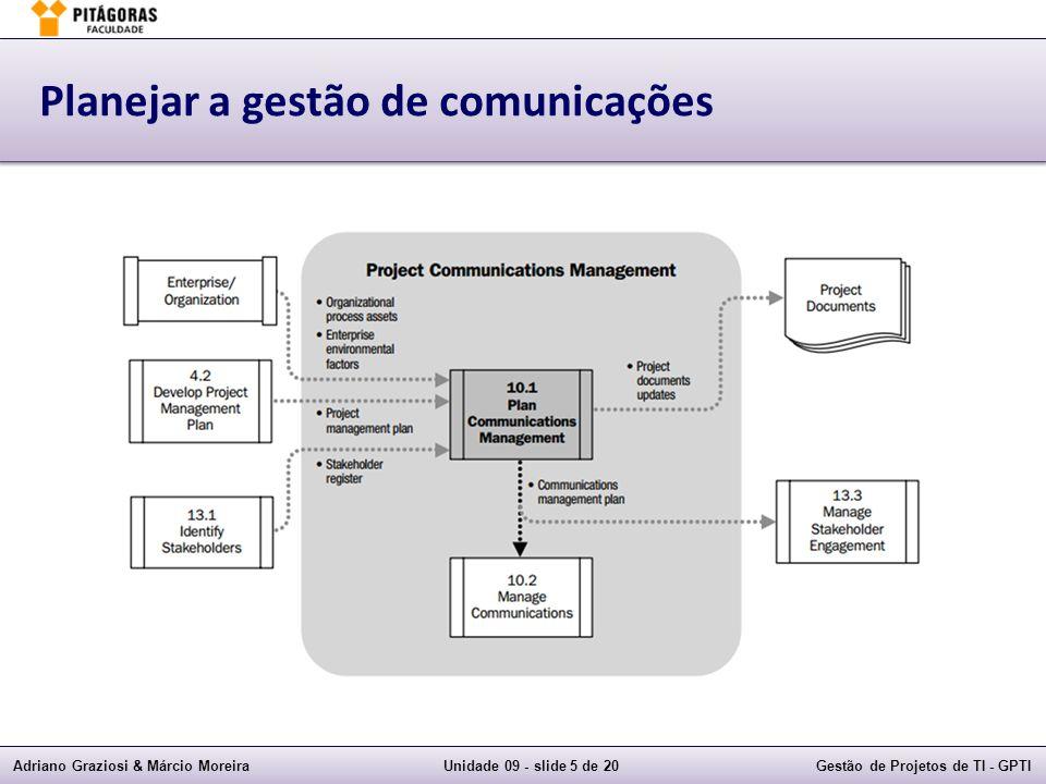 Adriano Graziosi & Márcio MoreiraUnidade 09 - slide 5 de 20Gestão de Projetos de TI - GPTI Planejar a gestão de comunicações