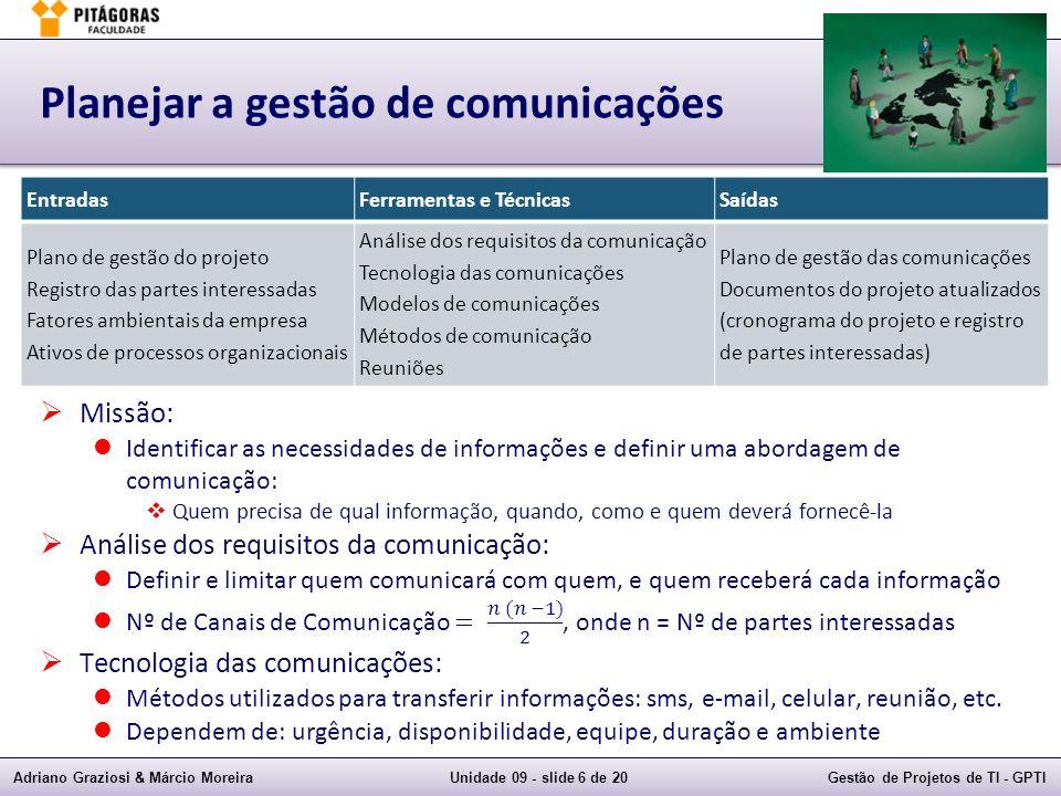 Adriano Graziosi & Márcio MoreiraUnidade 09 - slide 6 de 20Gestão de Projetos de TI - GPTI Planejar a gestão de comunicações EntradasFerramentas e Téc