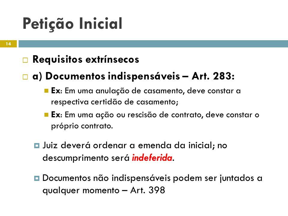 Petição Inicial Requisitos extrínsecos a) Documentos indispensáveis – Art. 283: Ex: Em uma anulação de casamento, deve constar a respectiva certidão d