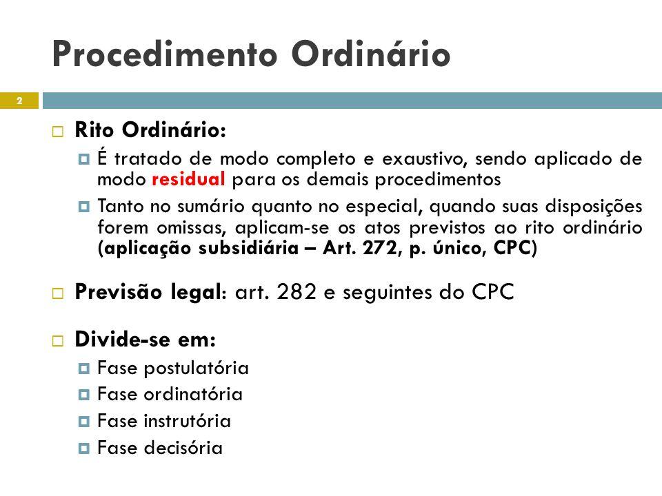 Procedimento Ordinário Rito Ordinário: É tratado de modo completo e exaustivo, sendo aplicado de modo residual para os demais procedimentos Tanto no s