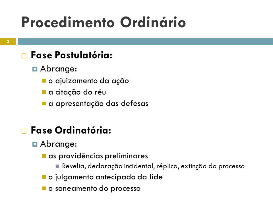 Procedimento Ordinário Fase Postulatória: Abrange: o ajuizamento da ação a citação do réu a apresentação das defesas Fase Ordinatória: Abrange: as pro