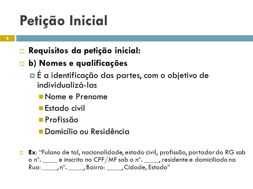 Petição Inicial Requisitos da petição inicial: b) Nomes e qualificações É a identificação das partes, com o objetivo de individualizá-las Nome e Preno