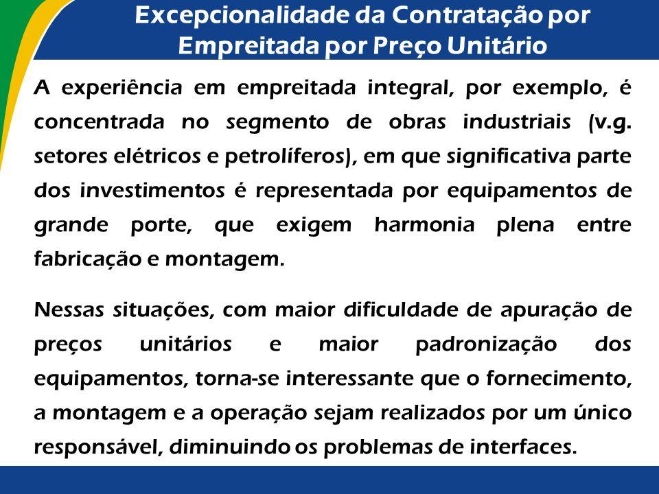 Excepcionalidade da Contratação por Empreitada por Preço Unitário É previsto o estabelecimento de preferência pelos regimes de contratação por preço g