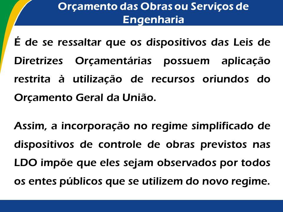 Orçamento das Obras ou Serviços de Engenharia O Tribunal de Contas da União está atuando em parceria com o Congresso Nacional para que os dispositivos
