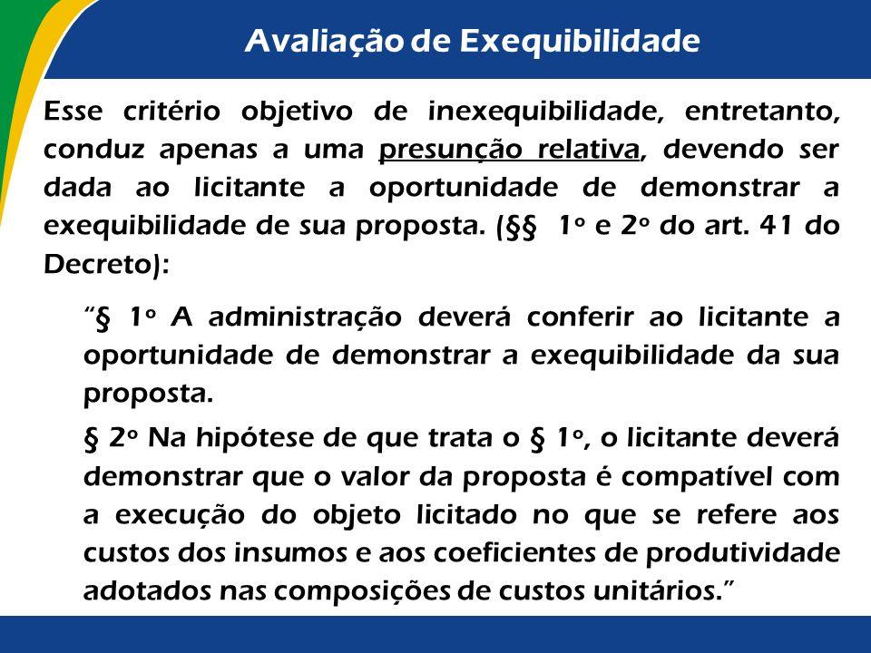 Avaliação de Exequibilidade Em relação à avaliação da exequibilidade das obras, aplica-se a regra contida no disposto no § 1º do art. 48 da Lei nº 8.6