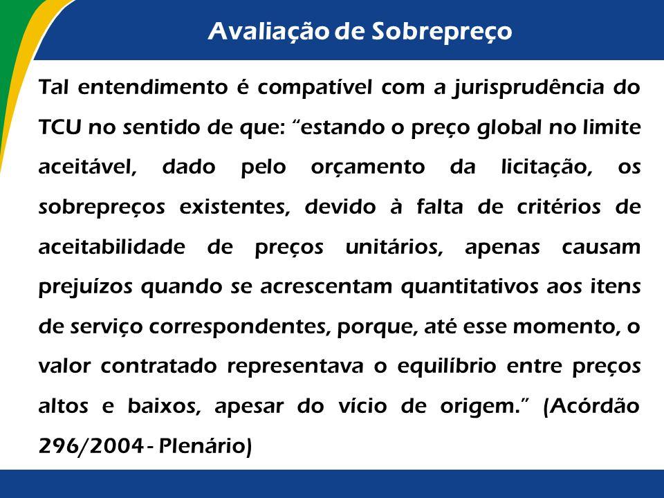 Avaliação de Sobrepreço Para efeito de avaliação da economicidade da proposta, deverão ser considerados exclusivamente o preço global e os preços unit