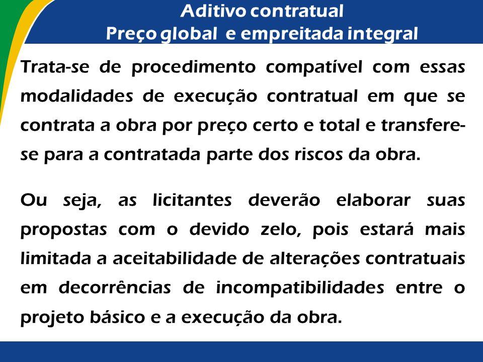 Aditivo contratual Preço global e empreitada integral As alterações contratuais sob alegação de falhas ou omissões em qualquer das peças, orçamentos,