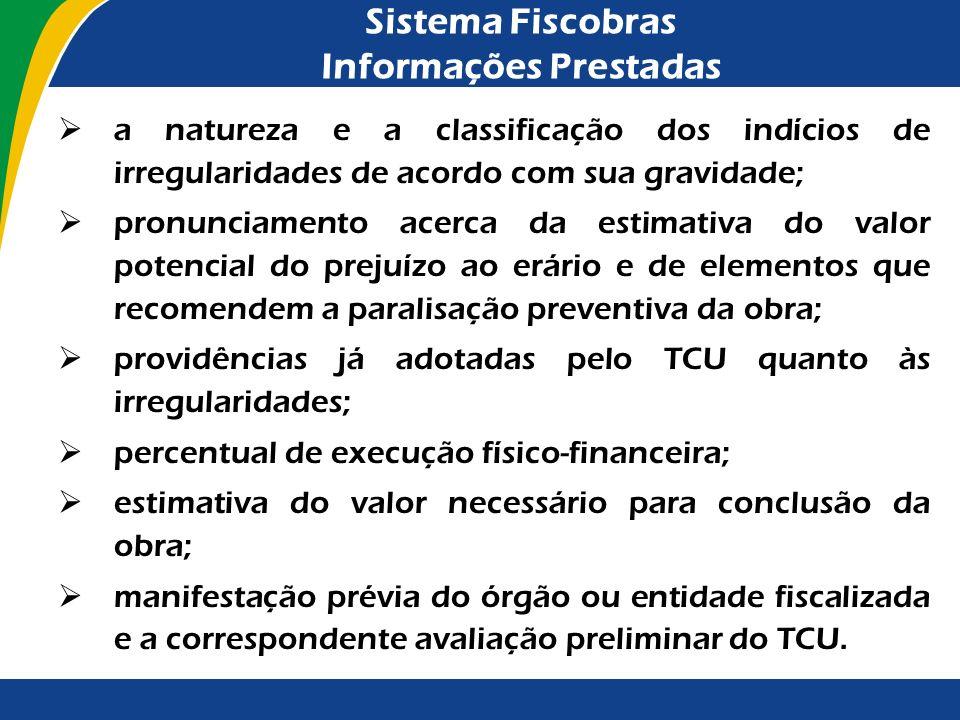 Sistema Fiscobras Informações Prestadas A LDO para 2012 (Lei nº 12.465/2011), que regulou os trabalhos de fiscalização do exercício de 2011, reafirmou
