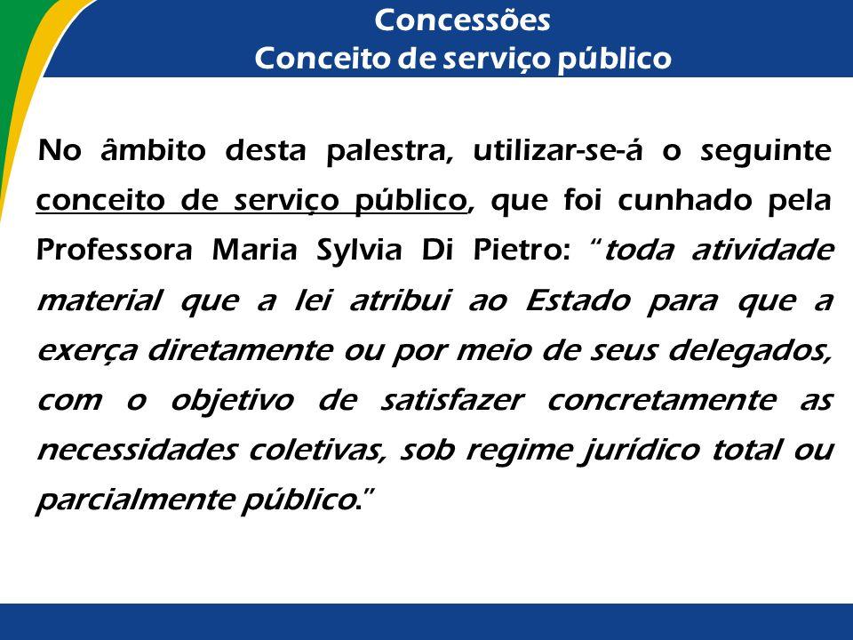 Concessões A revitalização das concessões A prestação de serviços públicos por agentes, em regra, estranhos à Administração, concretiza-se mediante co