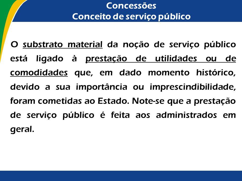 Concessões Conceito de serviço público Note-se que o serviço público possui as seguintes características: - Substrato material: atividades de interess