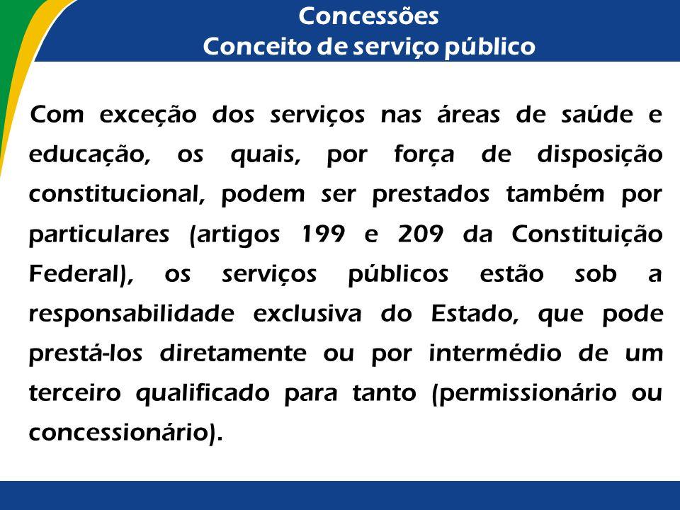 Concessões Conceito de serviço público O substrato material da noção de serviço público está ligado à prestação de utilidades ou de comodidades que, e