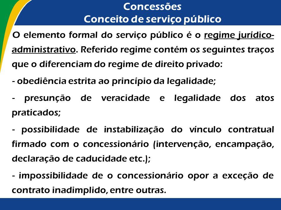 Concessões Conceito de serviço público À iniciativa privada compete, precipuamente, explorar as atividades econômicas (artigo 170, parágrafo único, da