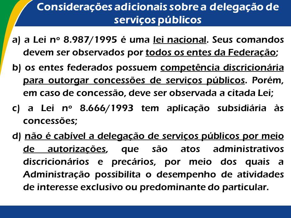 Dispositivo legal sobre a delegação de serviços públicos Em obediência a esse dispositivo constitucional, foi editada a Lei nº 8.987/1995 (Lei Geral d