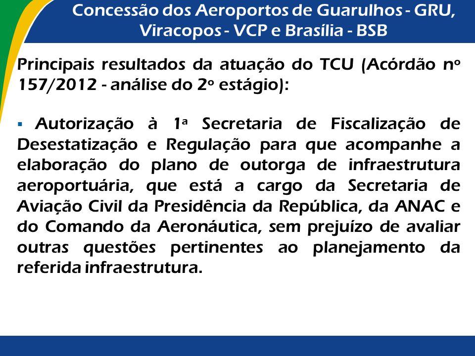 Principais resultados da atuação do TCU (Acórdão nº 3.232/2011 – aprovação com ressalvas do 1º estágio): Determinação à ANAC no sentido de: encaminhar