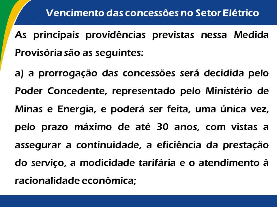 Em setembro de 2012, a Presidenta da República enviou ao Congresso proposta de Medida Provisória visando aperfeiçoar o marco institucional do Setor de