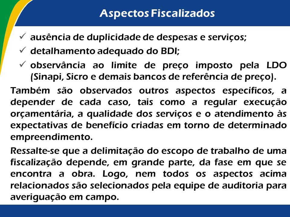 Aspectos Fiscalizados Execução da obra cumprimento do cronograma físico-financeiro; justificativas adequadas para paralisações e atrasos; compatibilid