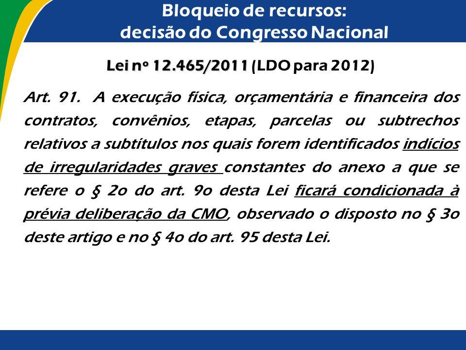 Bloqueio de recursos: decisão do Congresso Nacional Em 1997, o Congresso Nacional deu início a procedimento de bloqueio de dotação orçamentária para e