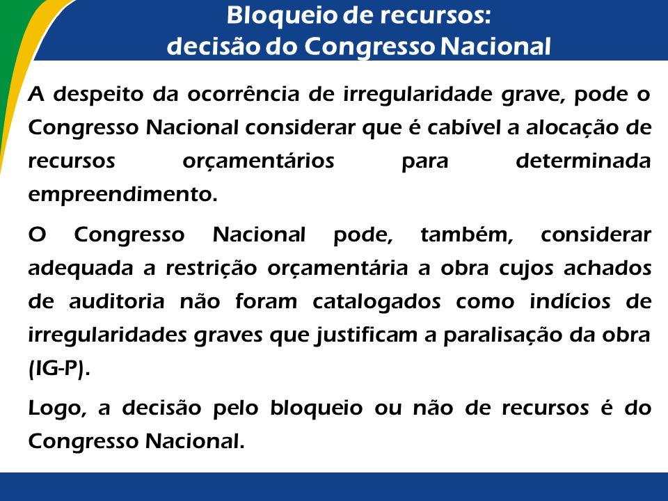 Bloqueio de recursos: decisão do Congresso Nacional Lei nº 12.465/2011 Lei nº 12.465/2011 (LDO para 2012) Art. 91. A execução física, orçamentária e f