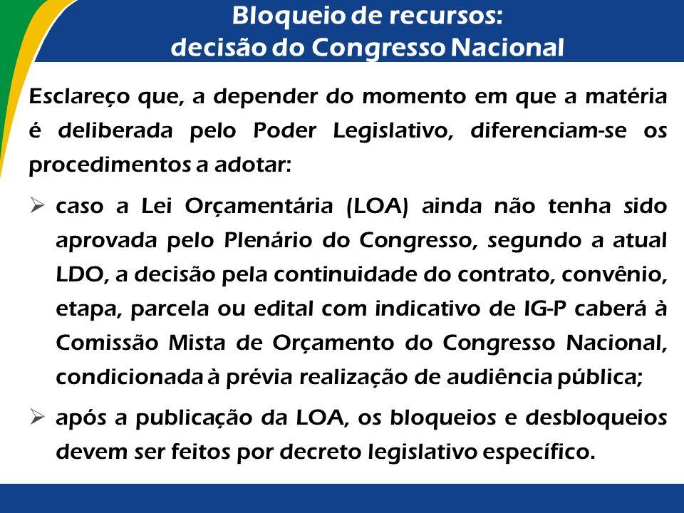 Bloqueio de recursos: decisão do Congresso Nacional A despeito da ocorrência de irregularidade grave, pode o Congresso Nacional considerar que é cabív
