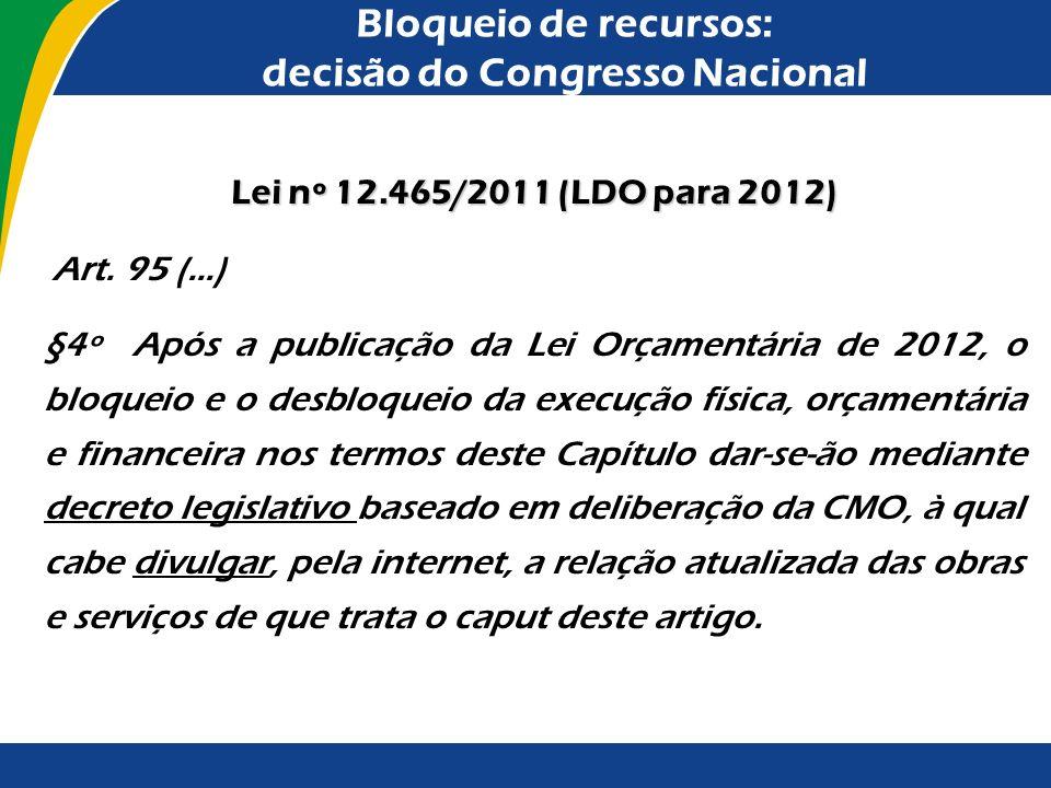 Bloqueio de recursos: decisão do Congresso Nacional Esclareço que, a depender do momento em que a matéria é deliberada pelo Poder Legislativo, diferen