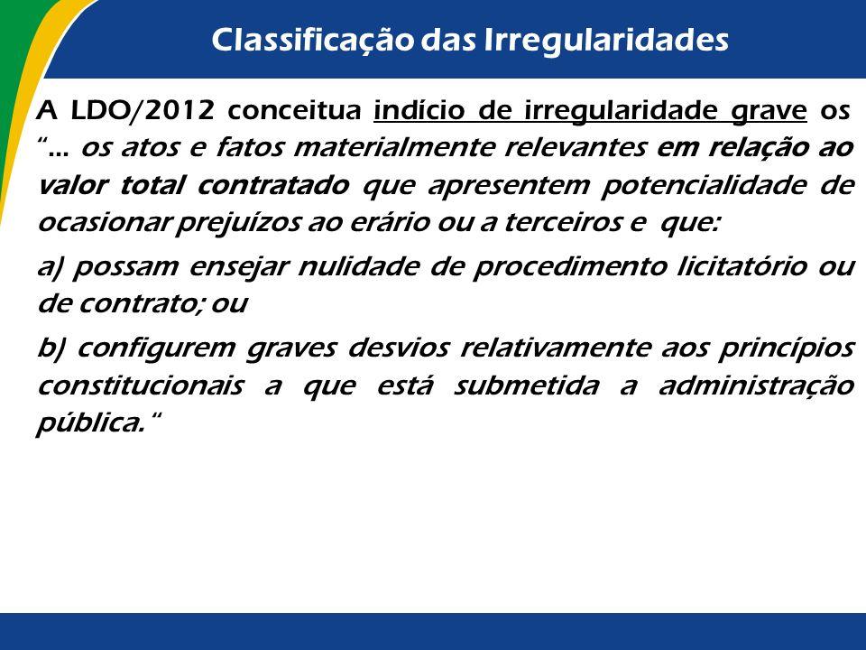 Classificação das Irregularidades Até 2002, os indícios de irregularidades graves eram os achados que ensejavam condenação ao pagamento de débito ou i
