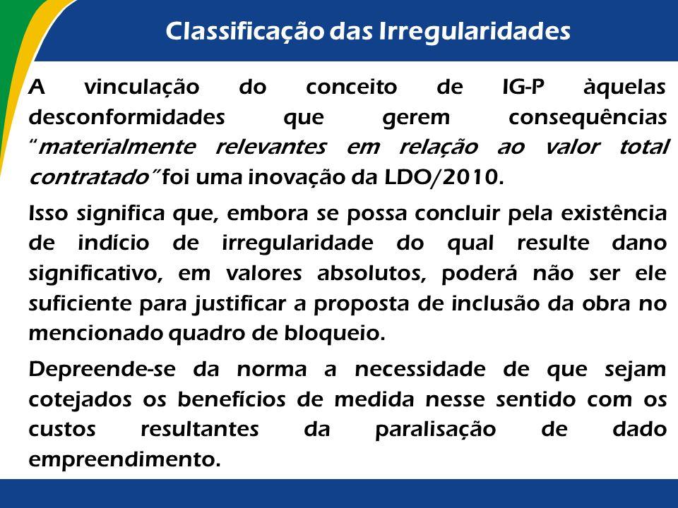 Classificação das Irregularidades A LDO/2012 conceitua indício de irregularidade grave os... os atos e fatos materialmente relevantes em relação ao va