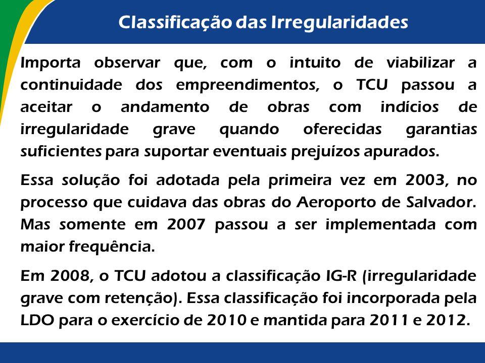 Classificação das Irregularidades Convém ressaltar que a orientação em tela, contida na LDO/2010 e reiterada na LDO/2011 e na LDO/2012, tem por finali