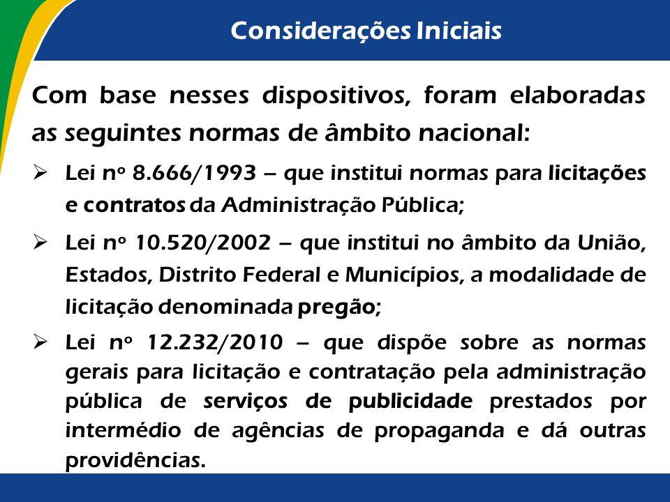 Considerações Iniciais É competência privativa da União legislar sobre normas gerais de licitação e contratação administrativa, em todas as modalidade