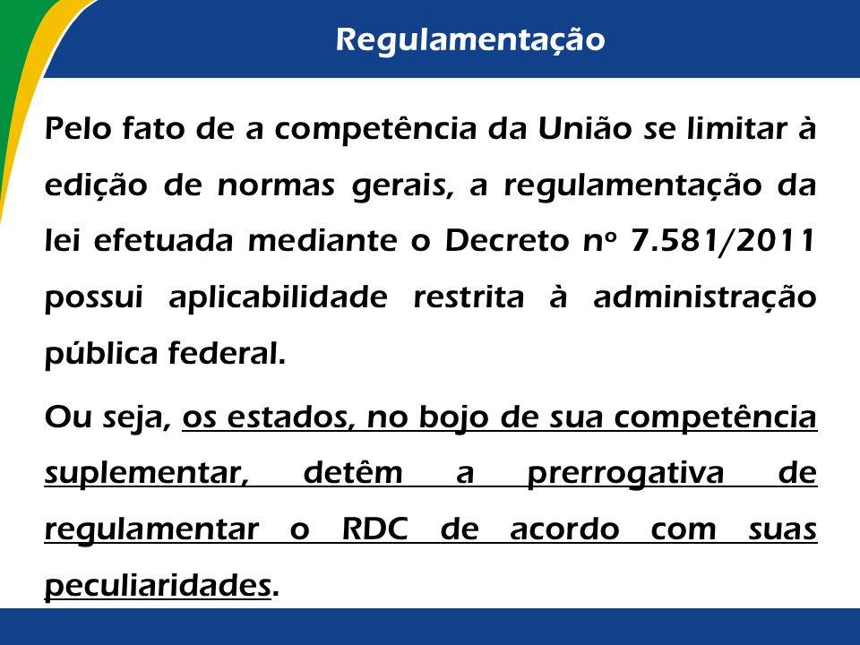Regulamentação É competência privativa da União legislar sobre normas gerais de licitação e contratação administrativa, em todas as modalidades, para