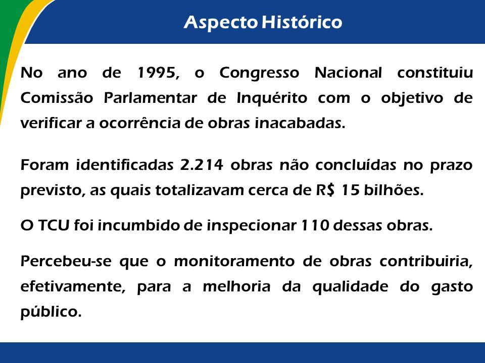 Aspecto Histórico No ano de 1995, o Congresso Nacional constituiu Comissão Parlamentar de Inquérito com o objetivo de verificar a ocorrência de obras inacabadas.