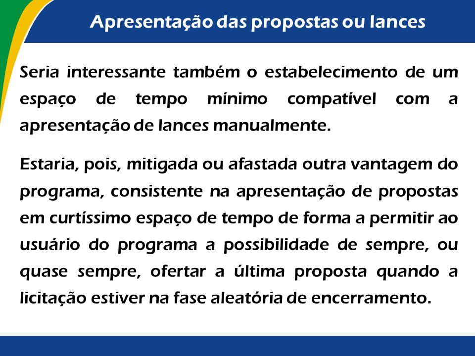 Apresentação das propostas ou lances O instrumento convocatório poderá estabelecer intervalo mínimo de diferença de valores entre os lances, retirando