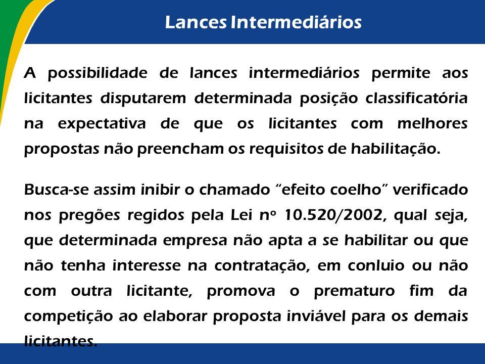 Apresentação das propostas ou lances Seria interessante também o estabelecimento de um espaço de tempo mínimo compatível com a apresentação de lances