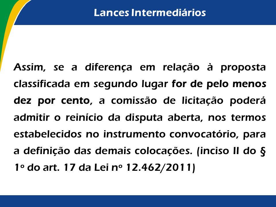 Lances Intermediários Mesmo com a possibilidade de apresentação de lances intermediários durante a disputa inicial, é facultado ao gestor a utilização
