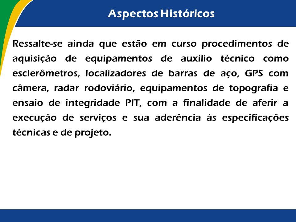 Aspectos Históricos A tarefa de fiscalização de obras tem sido considerada prioritária pelos dirigentes do TCU. Em 2001, foi criada, dentro da estrutu