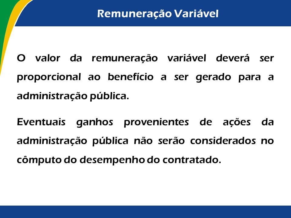 Remuneração Variável Prevista a possibilidade de estabelecimento de remuneração variável vinculada ao desempenho da contratada, ao valor a ser pago e