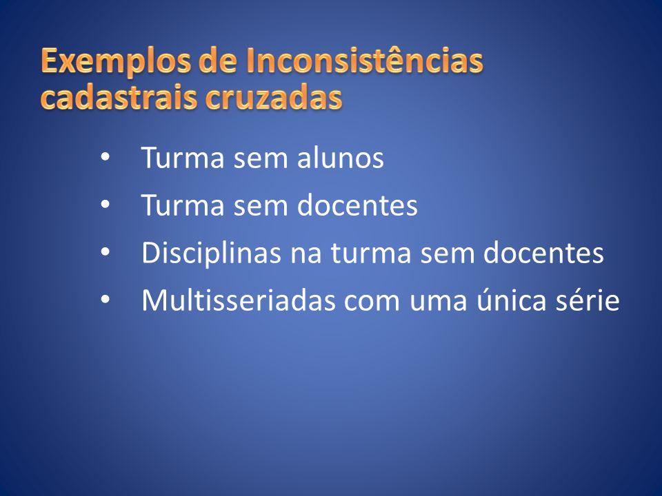 Turma sem alunos Turma sem docentes Disciplinas na turma sem docentes Multisseriadas com uma única série