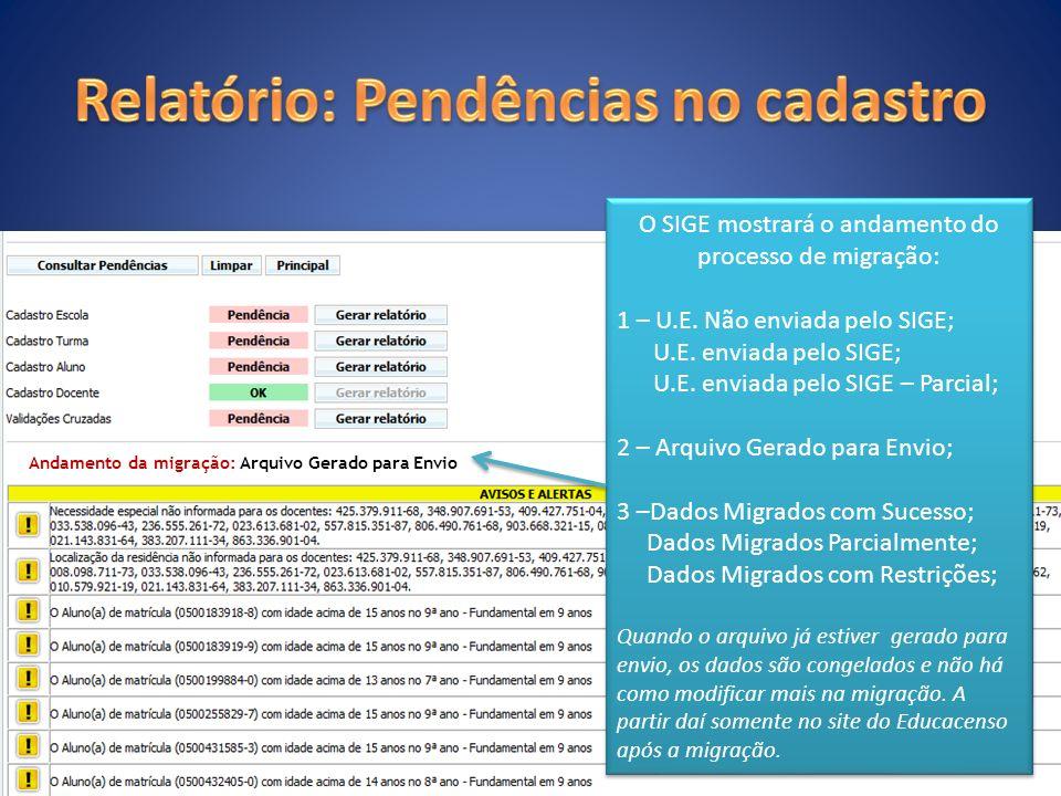 O SIGE mostrará o andamento do processo de migração: 1 – U.E. Não enviada pelo SIGE; U.E. enviada pelo SIGE; U.E. enviada pelo SIGE – Parcial; 2 – Arq