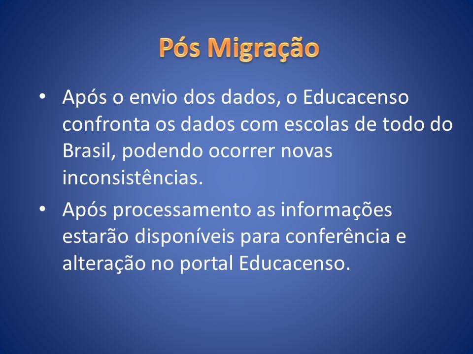 Após o envio dos dados, o Educacenso confronta os dados com escolas de todo do Brasil, podendo ocorrer novas inconsistências. Após processamento as in