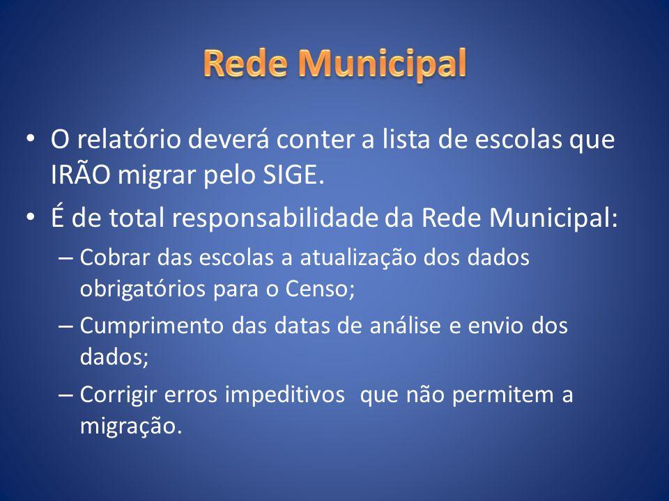 O relatório deverá conter a lista de escolas que IRÃO migrar pelo SIGE. É de total responsabilidade da Rede Municipal: – Cobrar das escolas a atualiza